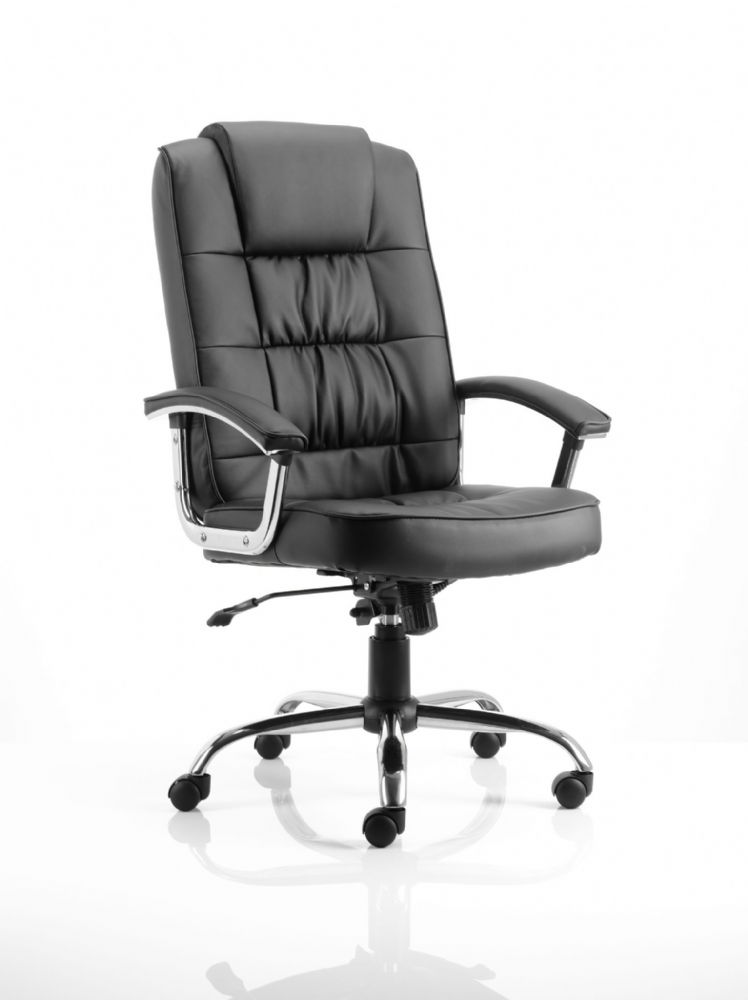 Moore Deluxe Executive Chair Fixed Padded Arms Twin Lever Lock Mech Office Black Bonded Leather
